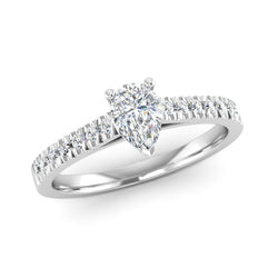 Pear Cut Diamond Engagement Ring with Diamond Set Shoulders - Jeweller's Loupe