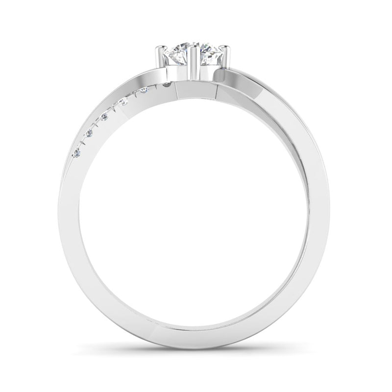 Round Brilliant Cut Diamond Engagement Ring with Crossover Diamond Set Shoulders - Jeweller's Loupe