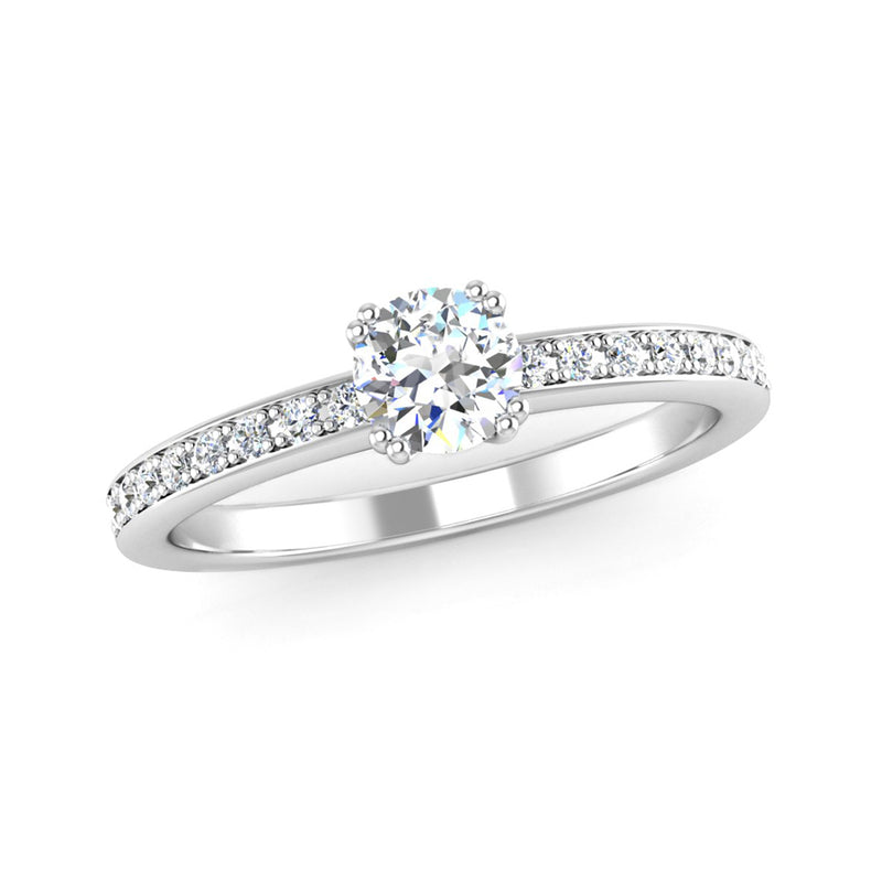 Double Claw Set Diamond Engagement Ring with Diamond Set Shoulders - Jeweller's Loupe