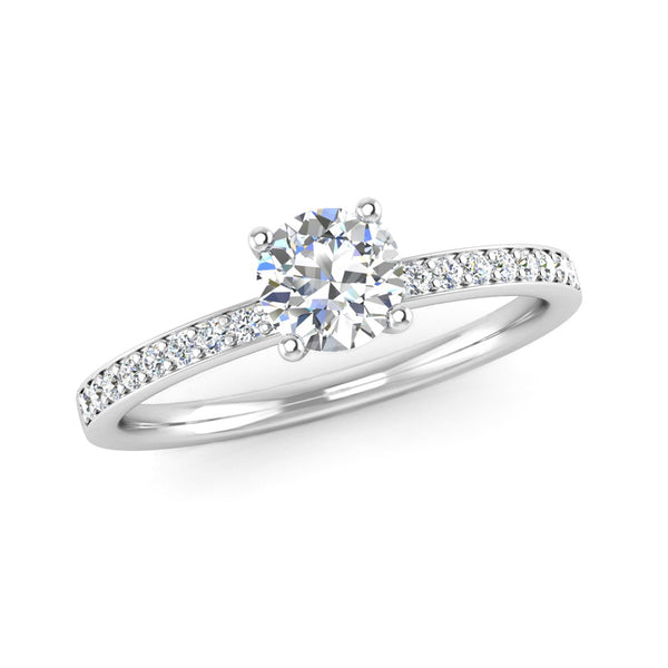 Round Brilliant Cut Diamond Engagement Ring with Grain Set Diamond Shoulders - Jeweller's Loupe