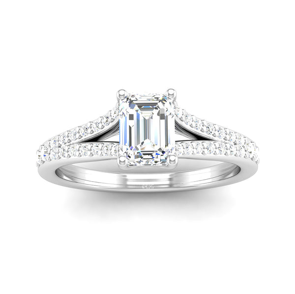 Emerald Cut Diamond Engagement Ring with Split Diamond Set Shoulders - Jeweller's Loupe