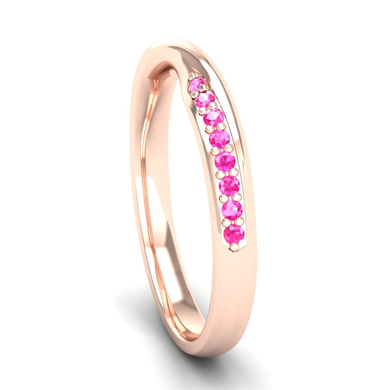 Fairtrade Rose Gold Pink Tourmaline Twist Eternity Ring - Jeweller's Loupe