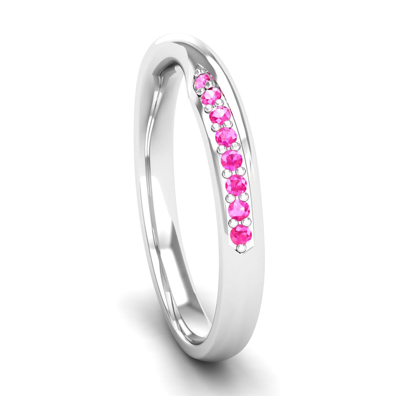 Fairtrade White Gold Pink Tourmaline Twist Eternity Ring - Jeweller's Loupe
