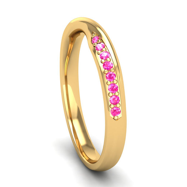 Fairtrade Yellow Gold Pink Tourmaline Twist Eternity Ring - Jeweller's Loupe