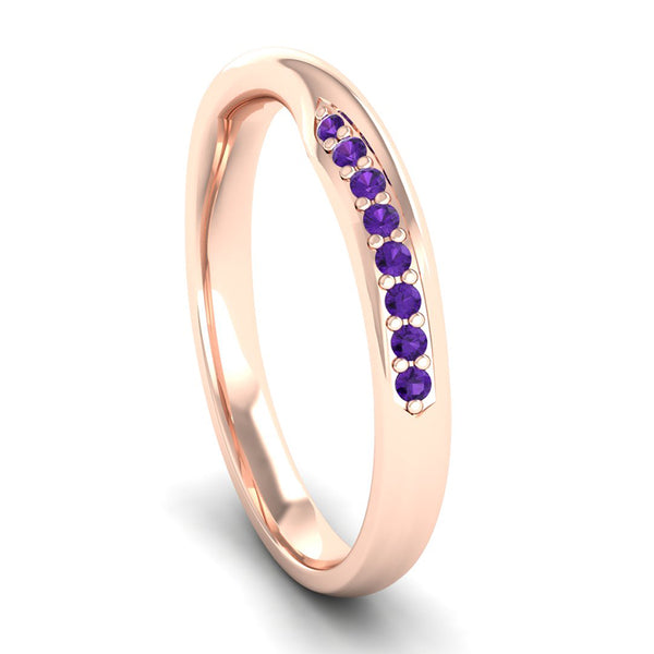 Fairtrade Rose Gold Amethyst Twist Eternity Ring - Jeweller's Loupe