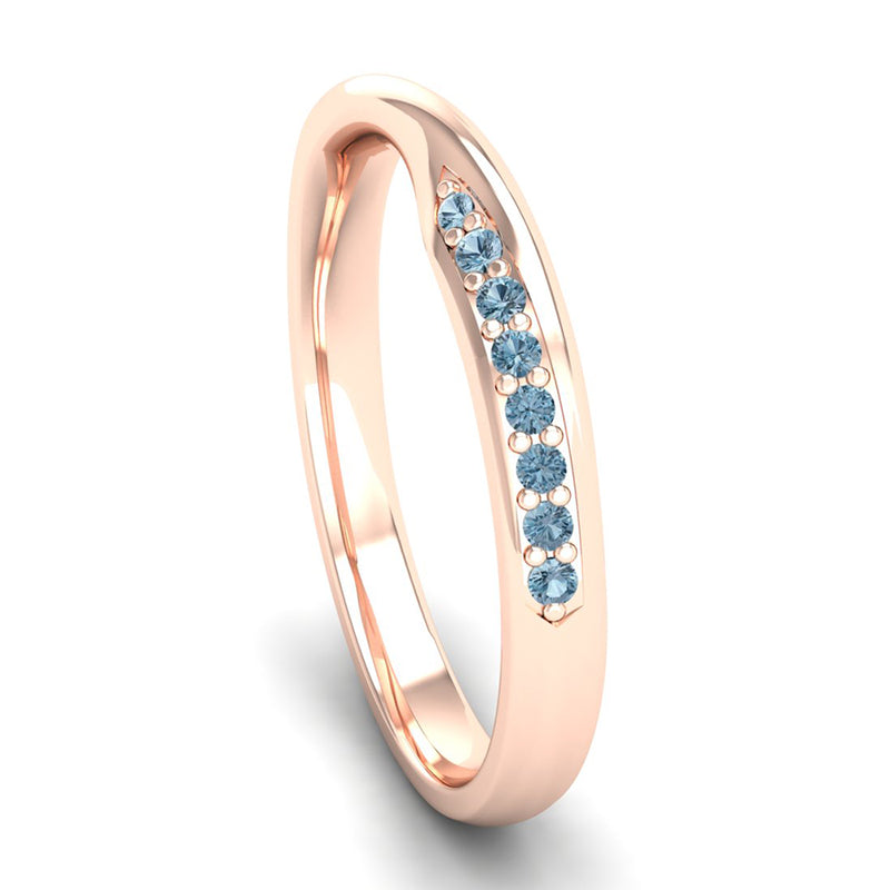 Fairtrade Rose Gold Aquamarine Twist Eternity Ring - Jeweller's Loupe