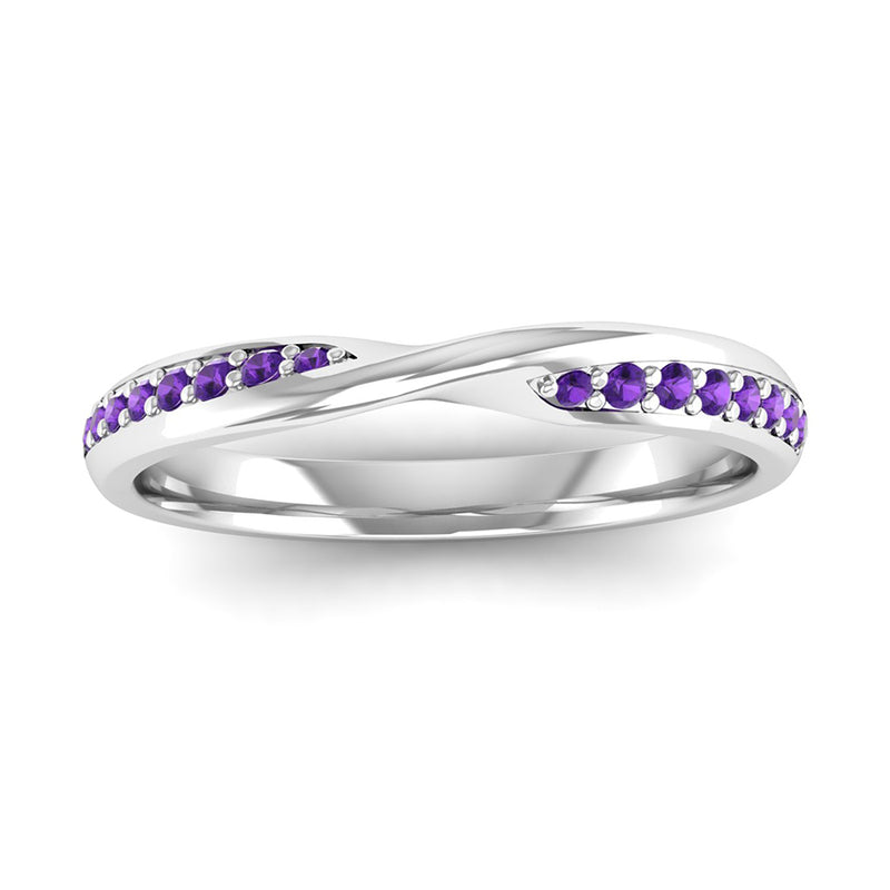 Fairtrade White Gold Amethyst Twist Eternity Ring - Jeweller's Loupe