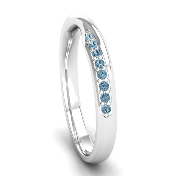 Ethically-sourced Platinum Aquamarine Twist Eternity Ring - Jeweller's Loupe