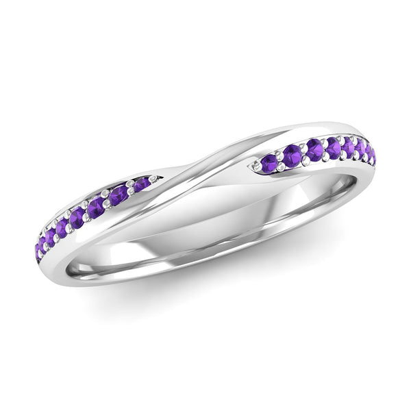 Fairtrade Silver Amethyst Twist Eternity Ring - Jeweller's Loupe