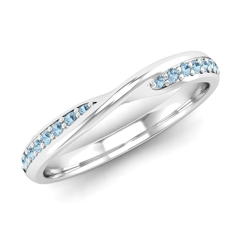 Fairtrade White Gold Aquamarine Twist Eternity Ring - Jeweller's Loupe
