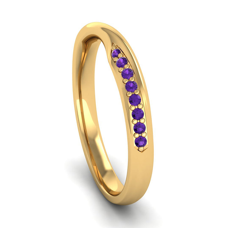 Fairtrade Yellow Gold Amethyst Twist Eternity Ring - Jeweller's Loupe