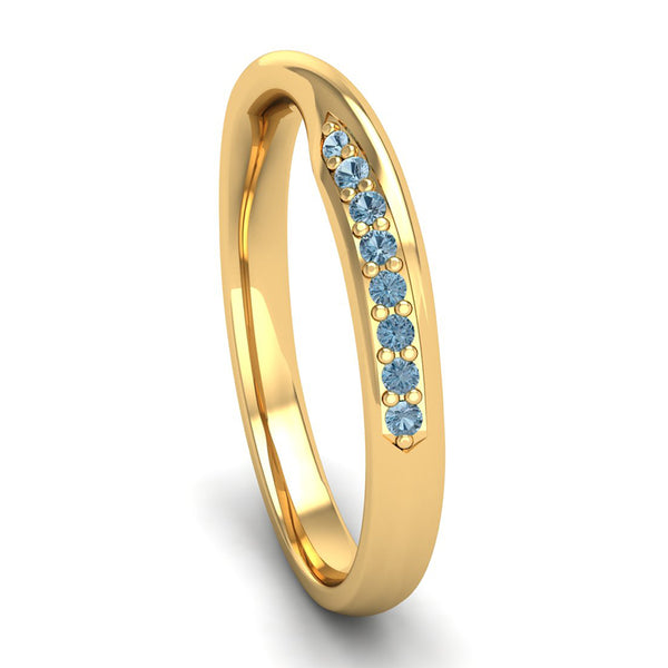 Fairtrade Yellow Gold Aquamarine Twist Eternity Ring - Jeweller's Loupe