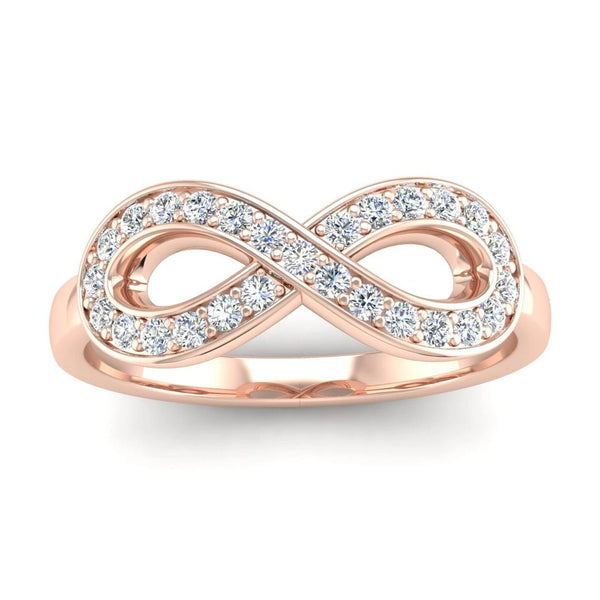 Fairtrade Rose Gold Diamond Set Infinity Symbol Ring - Jeweller's Loupe