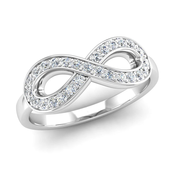 Ethically-sourced Platinum Diamond Set Infinity Symbol Ring - Jeweller's Loupe