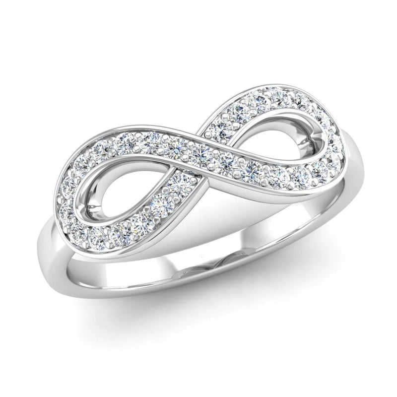 Fairtrade White Gold Diamond Set Infinity Symbol Ring - Jeweller's Loupe