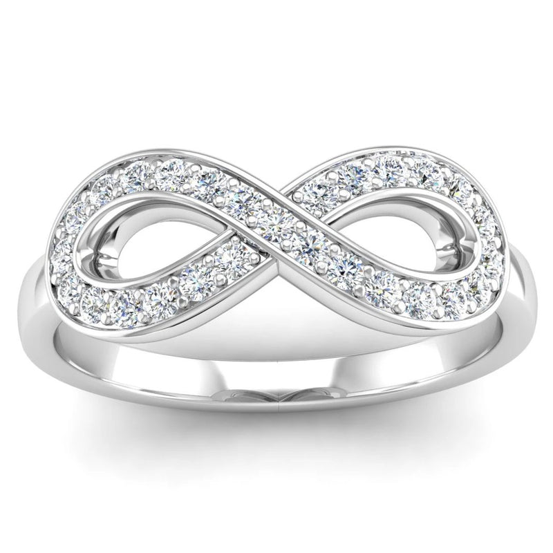 Fairtrade Silver Diamond Set Infinity Symbol Ring - Jeweller's Loupe