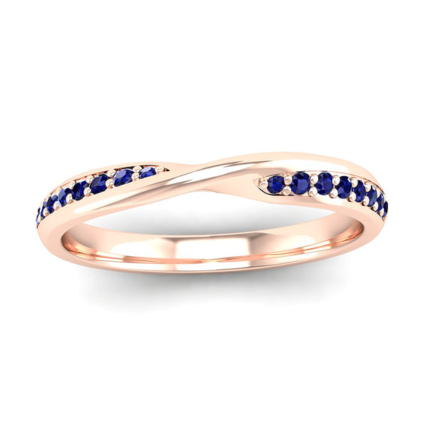 Fairtrade Rose Gold Sapphire Twist Eternity Ring - Jeweller's Loupe