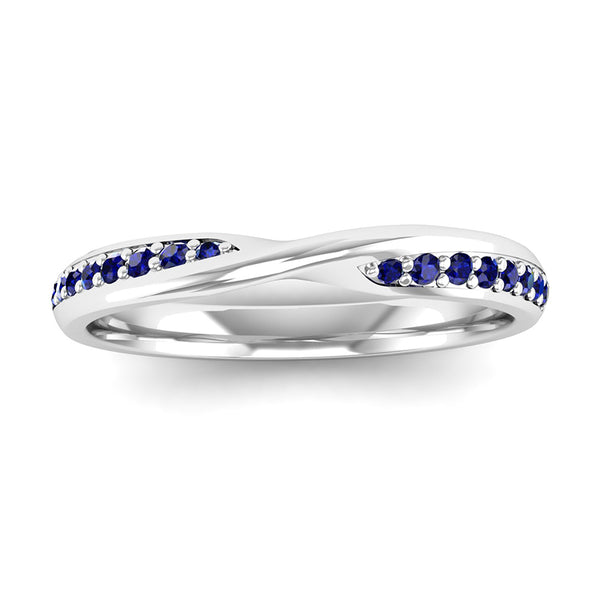 Fairtrade White Gold Sapphire Twist Eternity Ring - Jeweller's Loupe