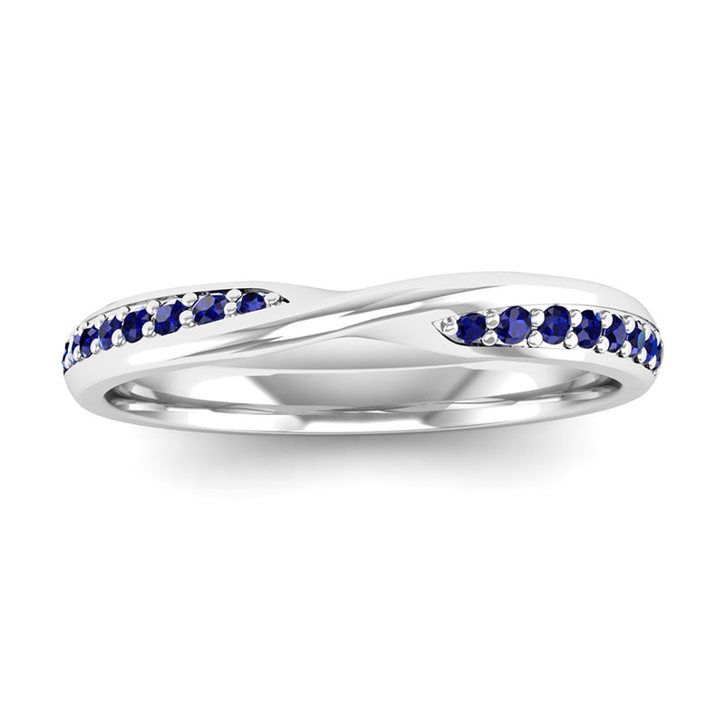 Fairtrade Silver Sapphire Twist Eternity Ring - Jeweller's Loupe