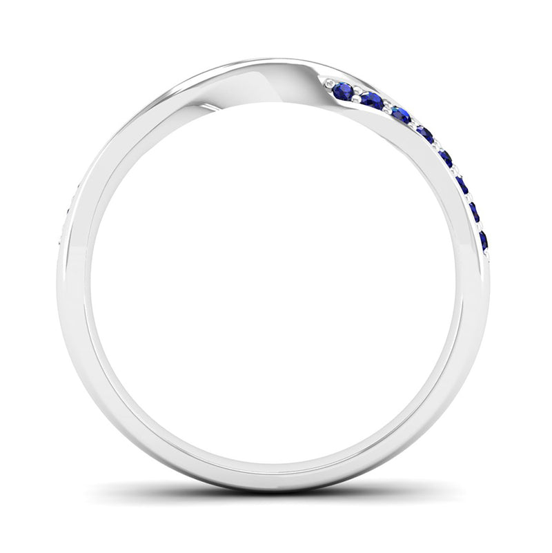 Ethically-sourced Platinum Sapphire Twist Eternity Ring - Jeweller's Loupe