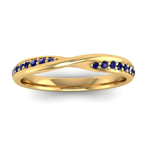 Fairtrade Yellow Gold Sapphire Twist Eternity Ring - Jeweller's Loupe