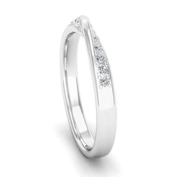 Ethically Sourced Platinum Diamond Twist Eternity Ring, Jeweller's Loupe