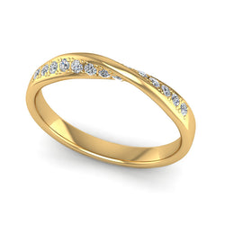Fairtrade Yellow Gold Diamond Twist Eternity Ring, Jeweller's Loupe, UK