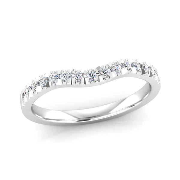 Diamond Set Fitted Wedding Ring to fit an Oval Cut Diamond Engagement Ring - Jeweller's Loupe