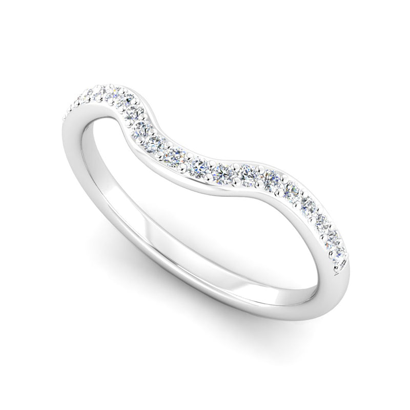 Diamond Set Fitted Wedding Ring to fit a Diamond Double Halo Engagement Ring - Jeweller's Loupe