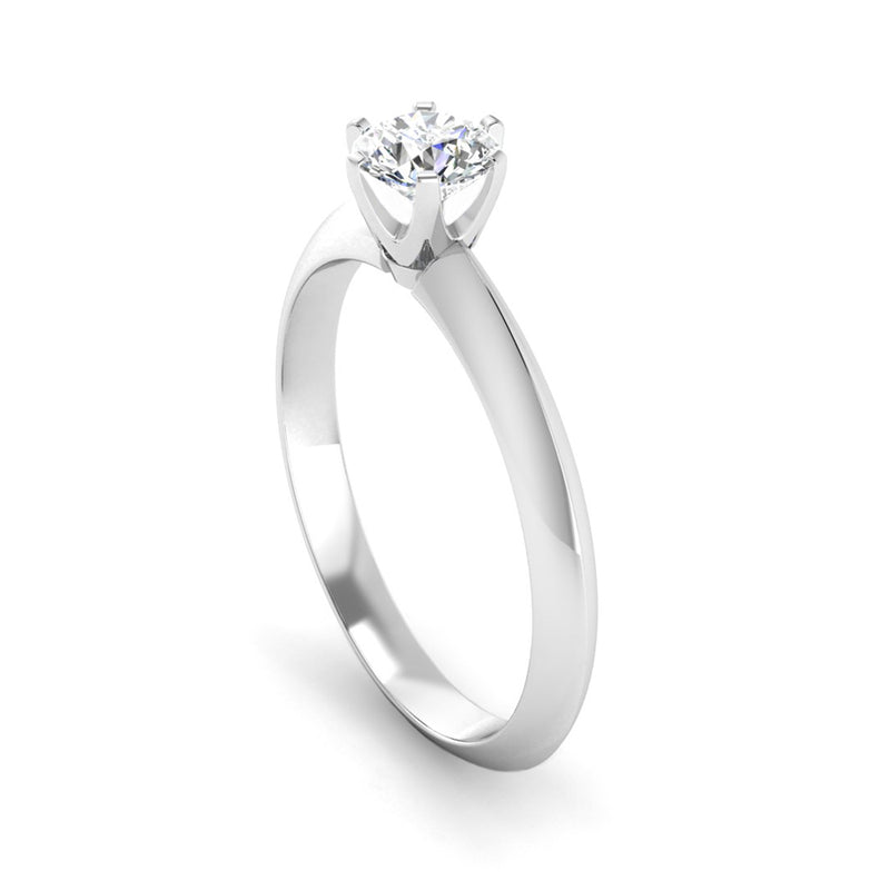 Solitaire Diamond Engagement Ring with a Rex Setting and Angled Band - Jeweller's Loupe