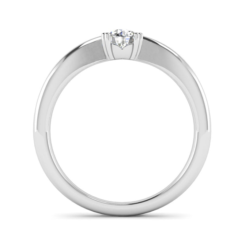 Double Claw Wave Solitaire Diamond Engagement Ring - Jeweller's Loupe