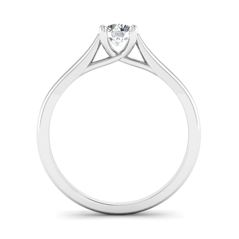 Solitaire Round Brilliant Cut Diamond Engagement ring with a Kiss Setting - Jeweller's Loupe