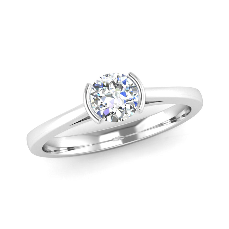 Semi Rub Set Solitaire Diamond Engagement Ring with Secret Diamonds - Jeweller's Loupe