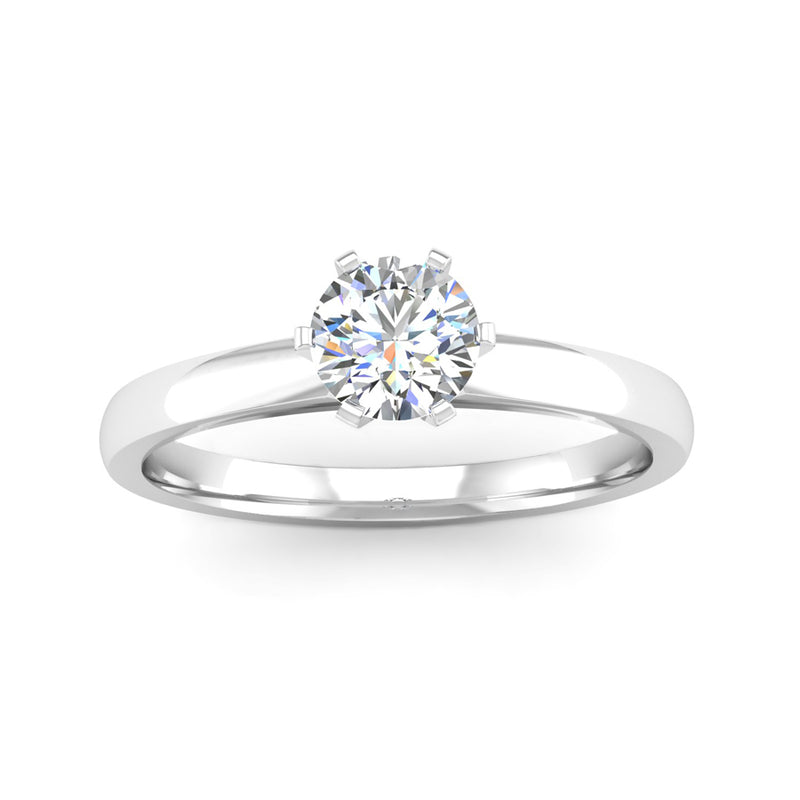 Solitaire Round Brilliant Cut Diamond Engagement Ring With A Rex Setting - Jeweller's Loupe
