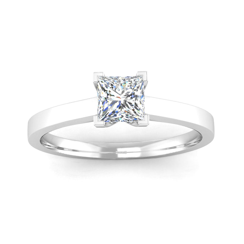 Solitaire Princess Cut Diamond Engagement Ring with a Squared Band - Jeweller's Loupe