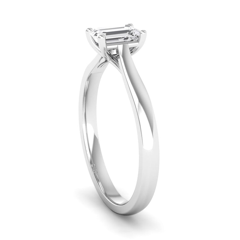Solitaire Emerald Cut Diamond Engagement Ring with a Kiss Setting - Jeweller's Loupe