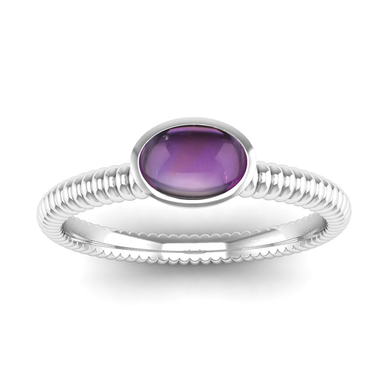 Ethically-Sourced Platinum PROMISE Amethyst Stacking Ring - Jeweller's Loupe