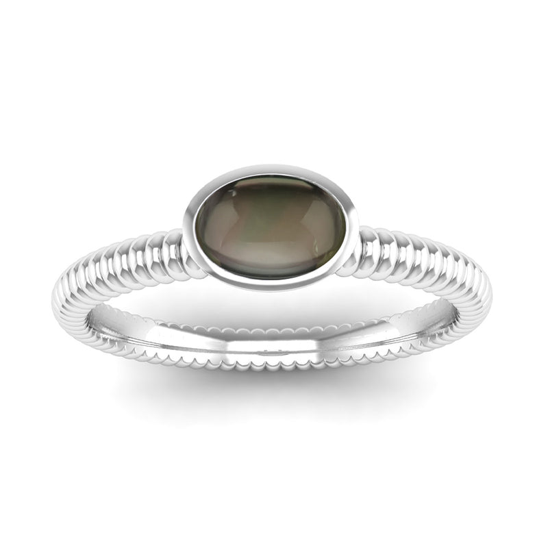 Ethically-sourced Platinum PROMISE Smoky Quartz Stacking Ring - Jeweller's Loupe