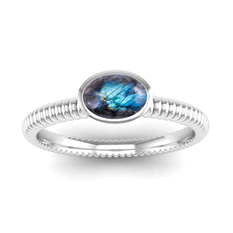 Ethically-Sourced Platinum PROMISE Labradorite Stacking Ring - Jeweller's Loupe