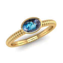 PROMISE Labradorite Bobble Stacking Ring - Jeweller's Loupe