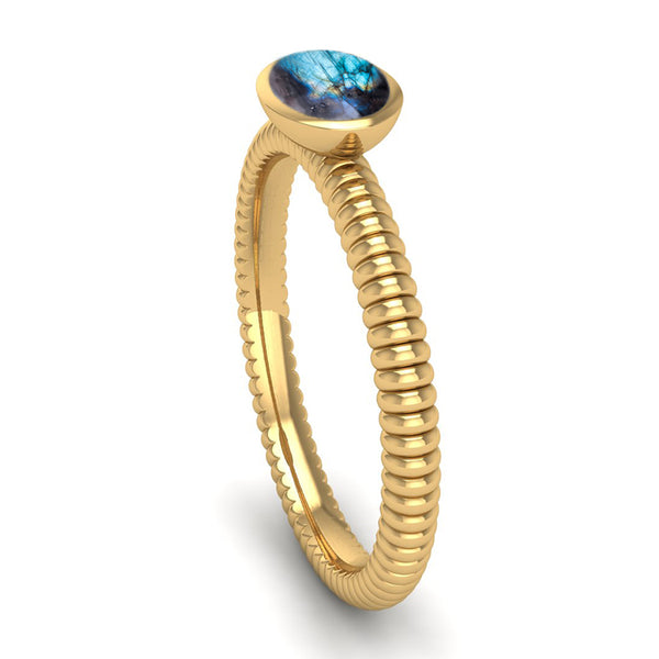 Fairtrade Gold PROMISE Labradorite Stacking Ring - Jeweller's Loupe
