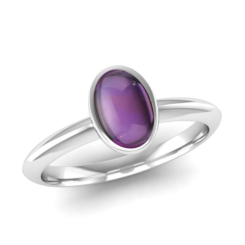 Ethically-sourced Platinum DESIRE Amethyst Stacking Ring - Jeweller's Loupe