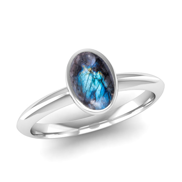 Ethically-sourced Platinum DESIRE Labradorite Stacking Ring - Jeweller's Loupe