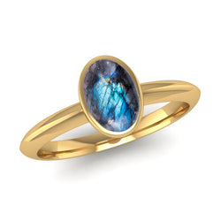 Fairtrade Gold DESIRE Labradorite Stacking Ring - Jeweller's Loupe