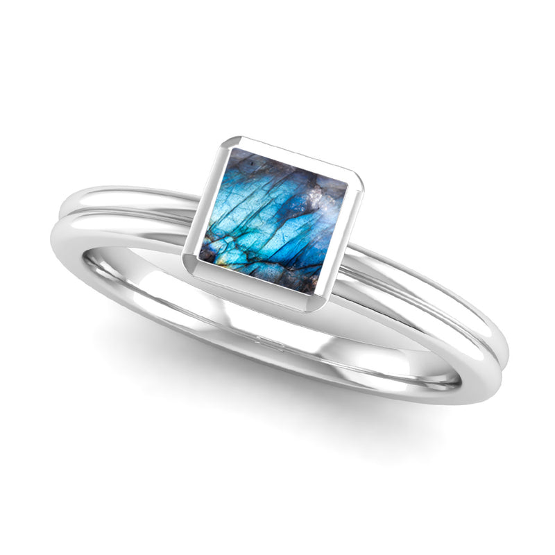 Fairtrade Silver TRUST Labradorite Stacking Ring - Jeweller's Loupe