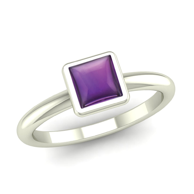 Ethically-sourced Platinum BELIEVE Amethyst Stacking Ring - Jeweller's Loupe