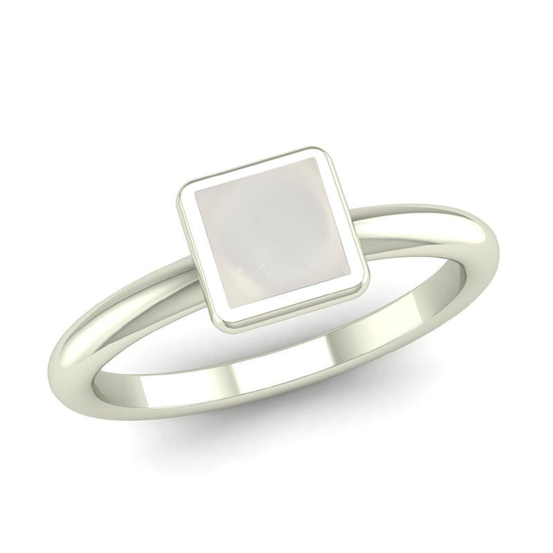 BELIEVE Crystal Quartz Rounded Band Stacking Ring - Jeweller's Loupe