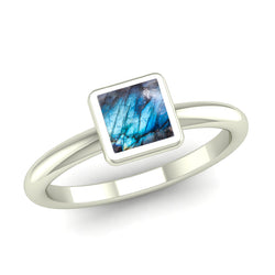 Ethically-sourced Platinum BELIEVE Labradorite Rounded Band Stacking Ring - Jeweller's Loupe