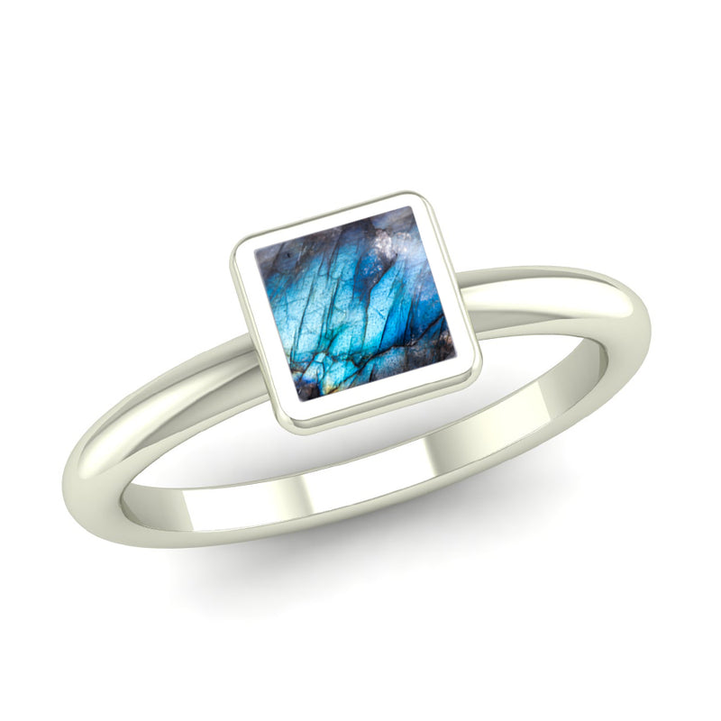 Fairtrade Silver BELIEVE Labradorite Stacking Ring - Jeweller's Loupe