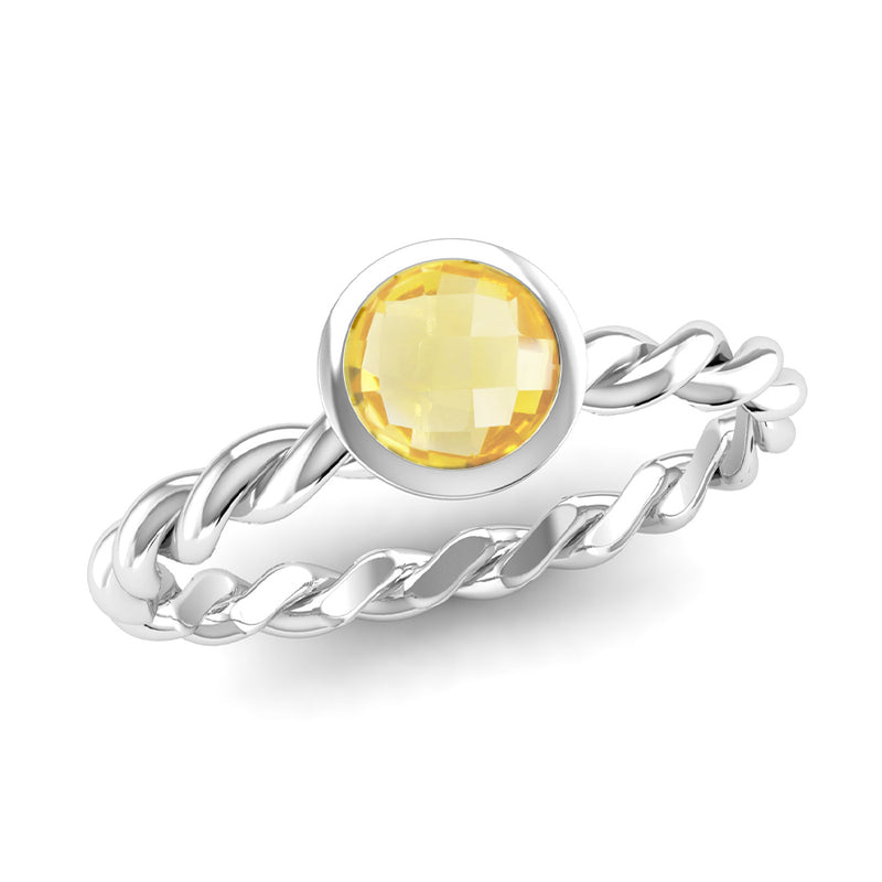 Fairtrade Silver DREAM Citrine Stacking Ring - Jeweller's Loupe